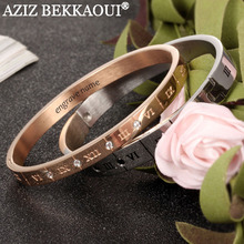 AZIZ BEKKAOUI Customize Named Couple Bracelets Stainless Steel Carving Roman Numeral Lover Cuff Bracelet Bangle Wedding Jewelry(China)