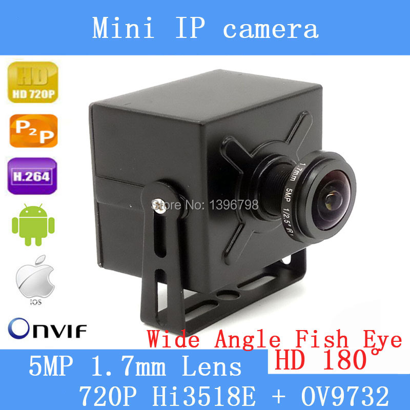 Wde angle ip camera H.264 onvif p2p180 degree fisheye lens mini ip camera poe 720P hd for indoor security+ 1.7mm 5MP Lens<br>