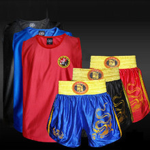 Kids Men Kick Boxing Uniforms Tank + Shorts MMA Muay Thai Boxing Suits Man Sanda Kungfu Wushu Suits Kids Boxing Wushu Clothes(China)