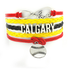 Hot sale calgary Baseball term sports charm souvenir yellow braid Handmade wrist bangle Customized bracelet SPORT JERSEY