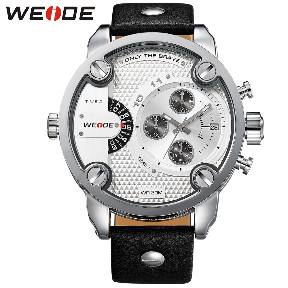 WEIDE Fashion Men Leather Strap Military Watch Analog Date Two Time Zones Display White Dial Quartz Wristwatch Relogio Masculino<br>