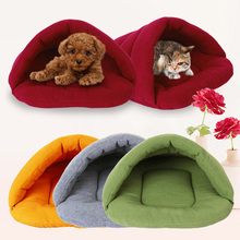 Newest Pet Dog Crate Cat Cave Warm Winter Bed House Sleeping Bag Plush Mat S M L(China)