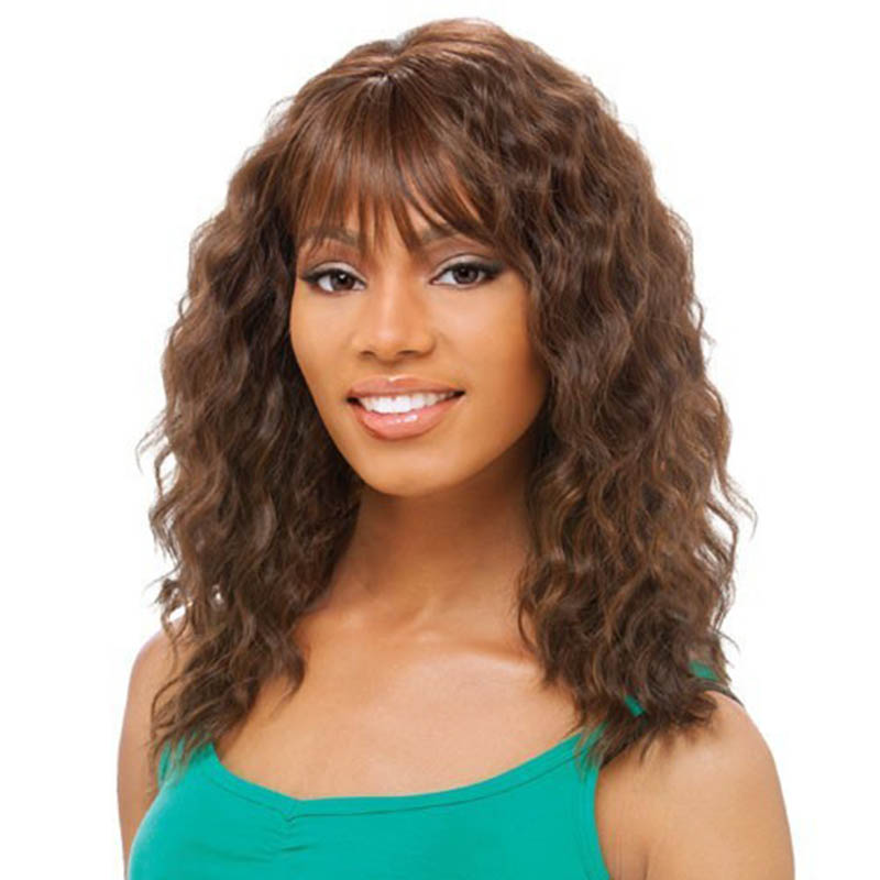 Long Curly Hairstyle Brown Color Cheap Capless Synthetic Hair Wigs For Black Women<br><br>Aliexpress