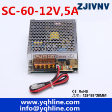 60W 12V 5A universal AC UPS/Charge function monitor switching power supply 13.8v, battery charger 2 year warranty (SC-60-12)