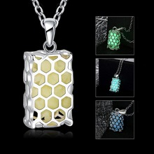 New Style  Luminous Magic Rectangle Fairy Necklace Fluorescent Stone Hollow Locket Cage For Women Night Light KQS