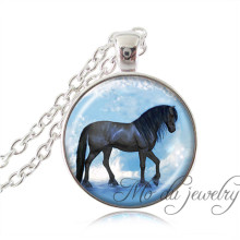 Silver Chain Black Horse Pendant Art Photo Print Horse Necklace Glass Dome Horse Jewelry Mustang,Stallion Nature Animal Jewelry(China)
