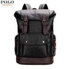 VICUNA POLO Fashion Unique Patchwork Mens Leather Backpack Bag Trendy Large Student Rucksack School Bag Simple Men Travel Bags(China)