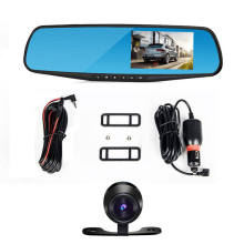 4.3 Inch Dual Lens Car DVR Rear View Camera Full HD 1080P Car Camera Rearview Mirror Detector Registrator Night Vision Dash Cam(China)