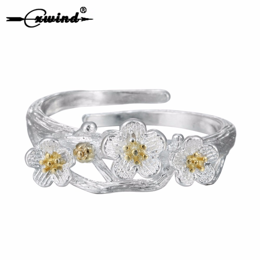 Cxwind New Cute Silver Plum Flower Rings for Midi Jewelry Fashion Flowers Open Adjustable Finger Ring women Party Gift Jewelry