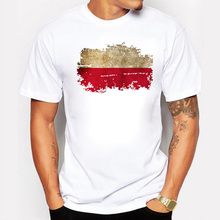 Summer Poland Flag Men T shirts 100% Cotton Print T-shirts For Men Short Sleeve Fans Cotton T Shirts for Men Fitness Homme(China)