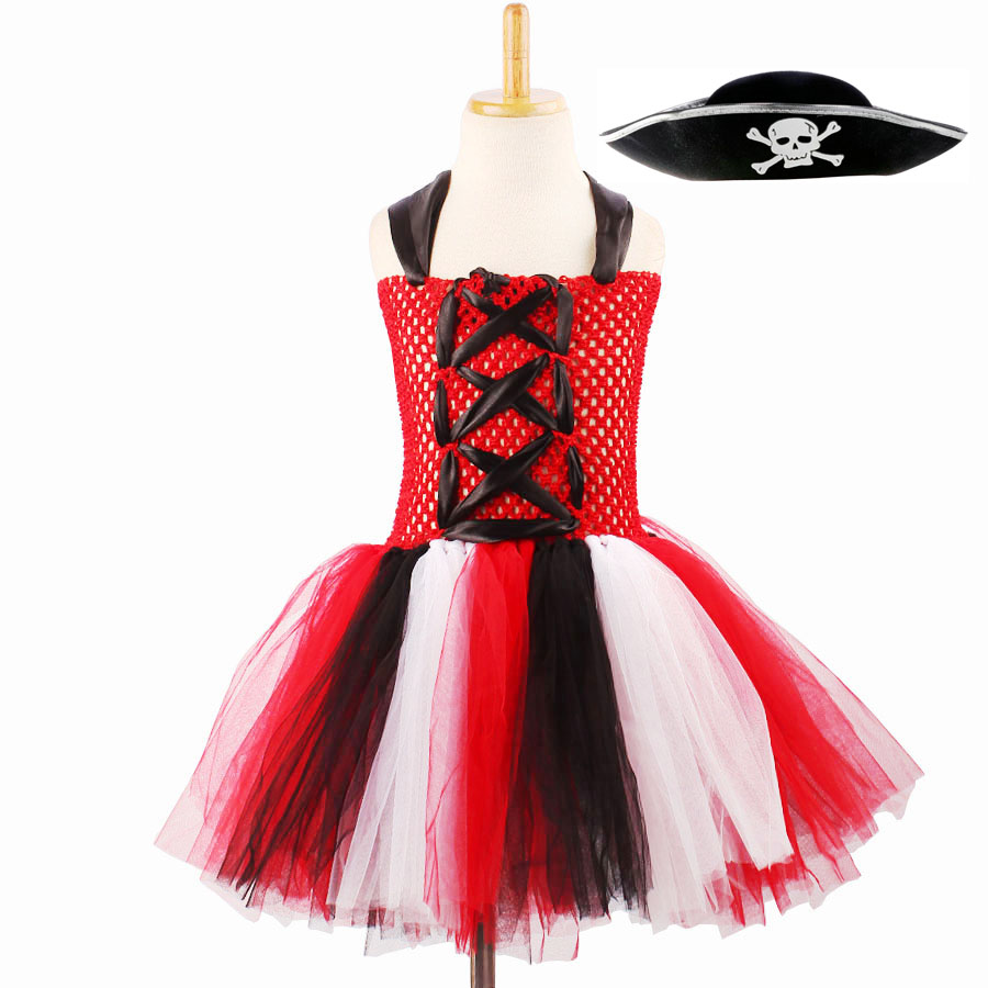 NEW Girls Black white skulls check striped Tutu Skirt Gothic Metal Party Pirates