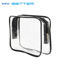 Environmental Protection PVC Waterproof Transparent Cosmetic Bag Women Travel Wash Bags Make Up Zipper Pouch(China)