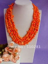 Free ship!!!Luxury Fashion Bridesmaid Bridal Wedding Party Gift Coral jewelry Orange Branch Coral Necklace