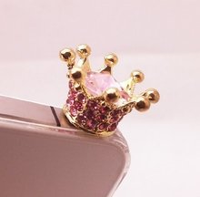 New beautiful sparkling crown 3.5mm headphone dust plug for iphone 4 4s 5 5s 5c Samsung Galaxy S3 S4 S5 NOTE2 NOTE3 HTC