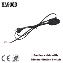 Light Dimmer Plug EU/US Plug White/Black 1.8m Length Line Power Cable with Dimmable Button Switch for LED Lamp