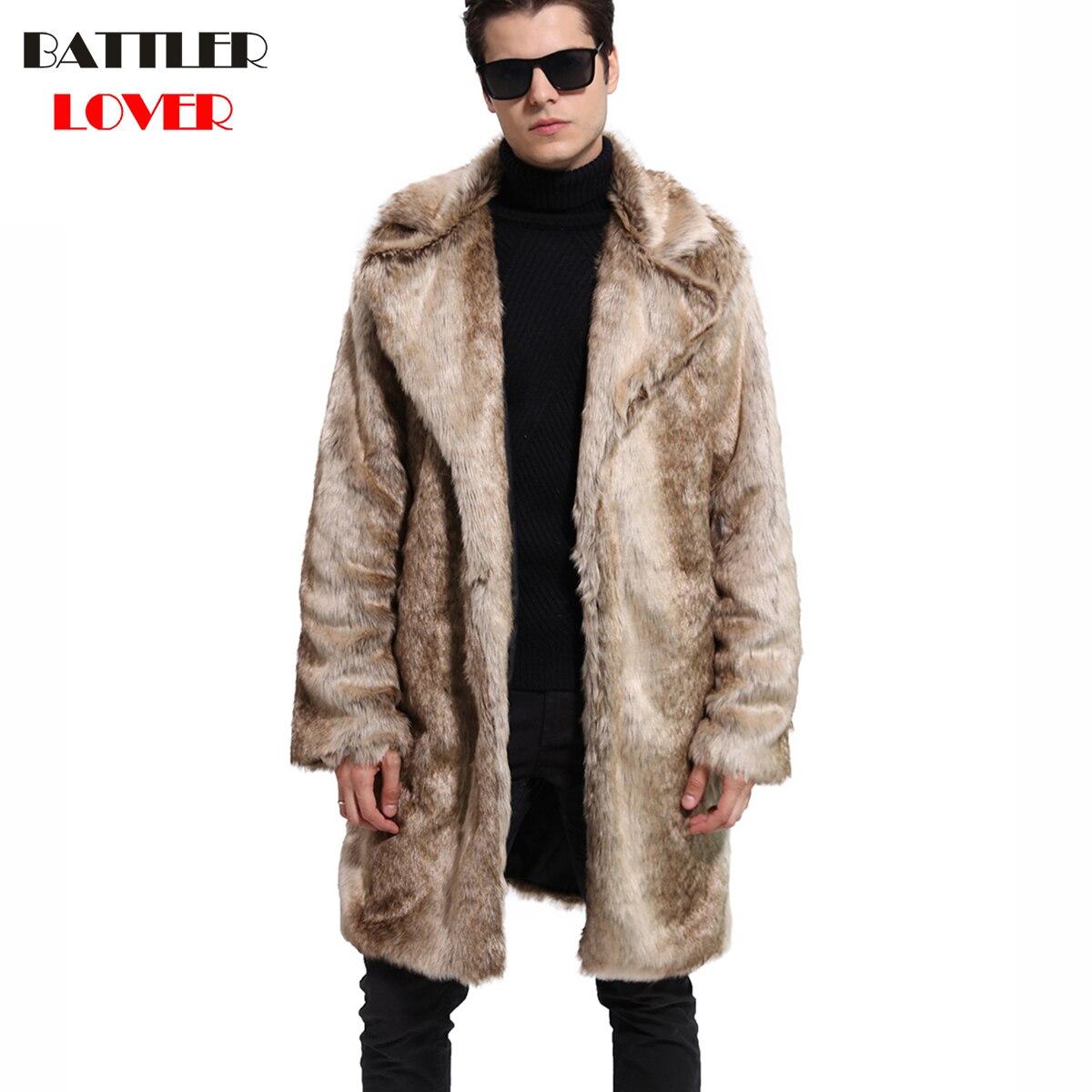 Mens Fur Coat Winter Faux Fur Warm Outwear Coats Men Punk Parka Jackets Hombre Thick Leather Overcoat Genuine Fur Brand Clothing