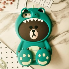 2017 New Korean 3D Dinosaur Brown Bear Case for iPhone 7 7plus 6 6s 6plus Bear in Tiger Costumes Back Case Funda Cover