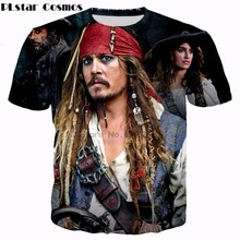 PLstar Cosmos Latest movie Pirates of the Caribbean T-shirts Men Women t shirt Jack Sparrow 3d print summer style casual t shirt(China)