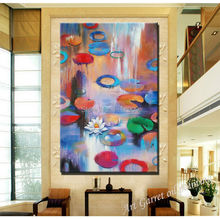 100 %hand-painted impressional lotus flower Oil paintings on canvas Modern wall landscape wall art for living room(China)