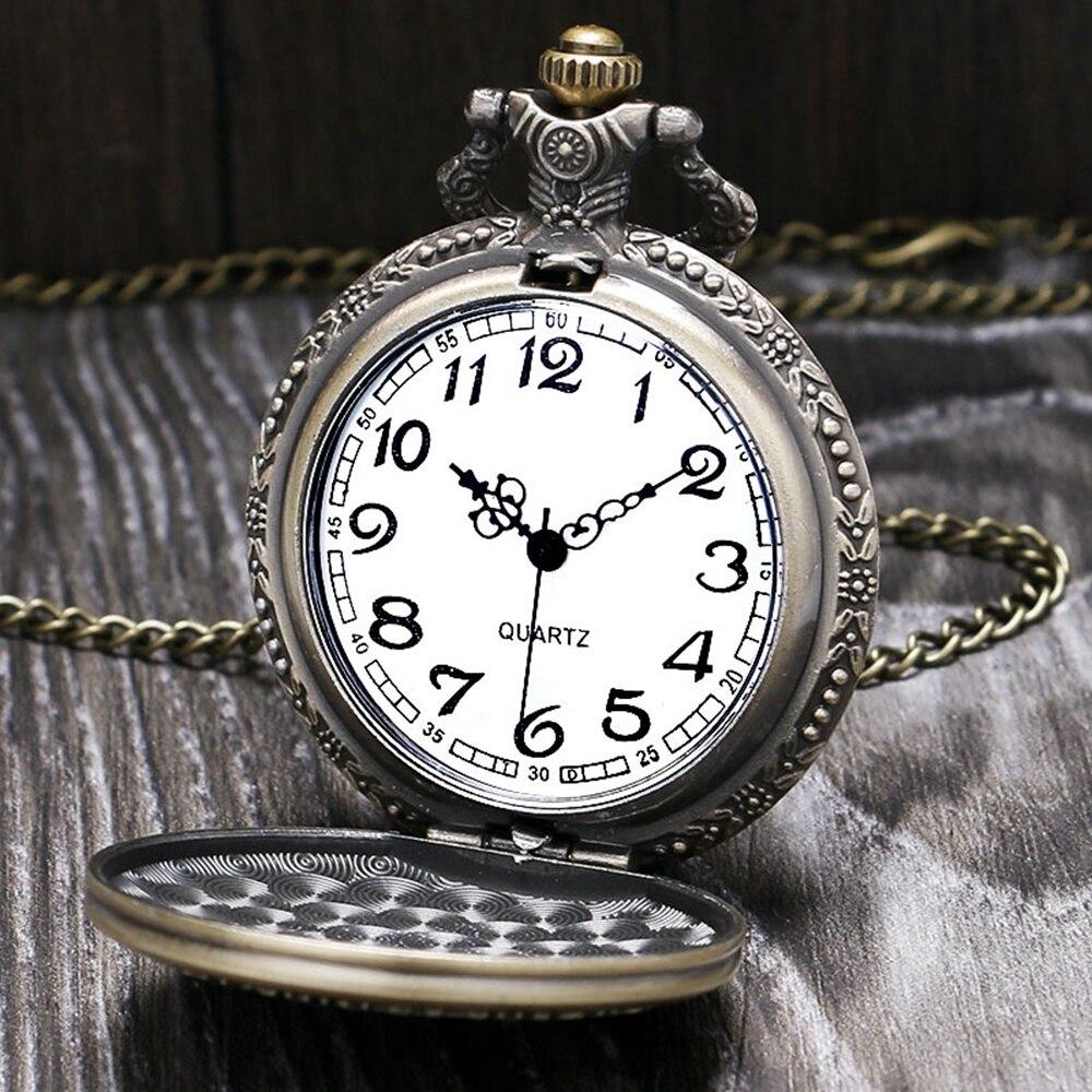 Retro Full Hunter Pocket Watch Men Bronze Hand Around Quartz Clock Vinatge Unisex Mini Gift Watch Women Necklace Clock Gift Bag (8)