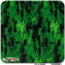 TSKW048-1 popular pattern green flame fire Hydrographic Film  PVA Water Transfer Printing Film
