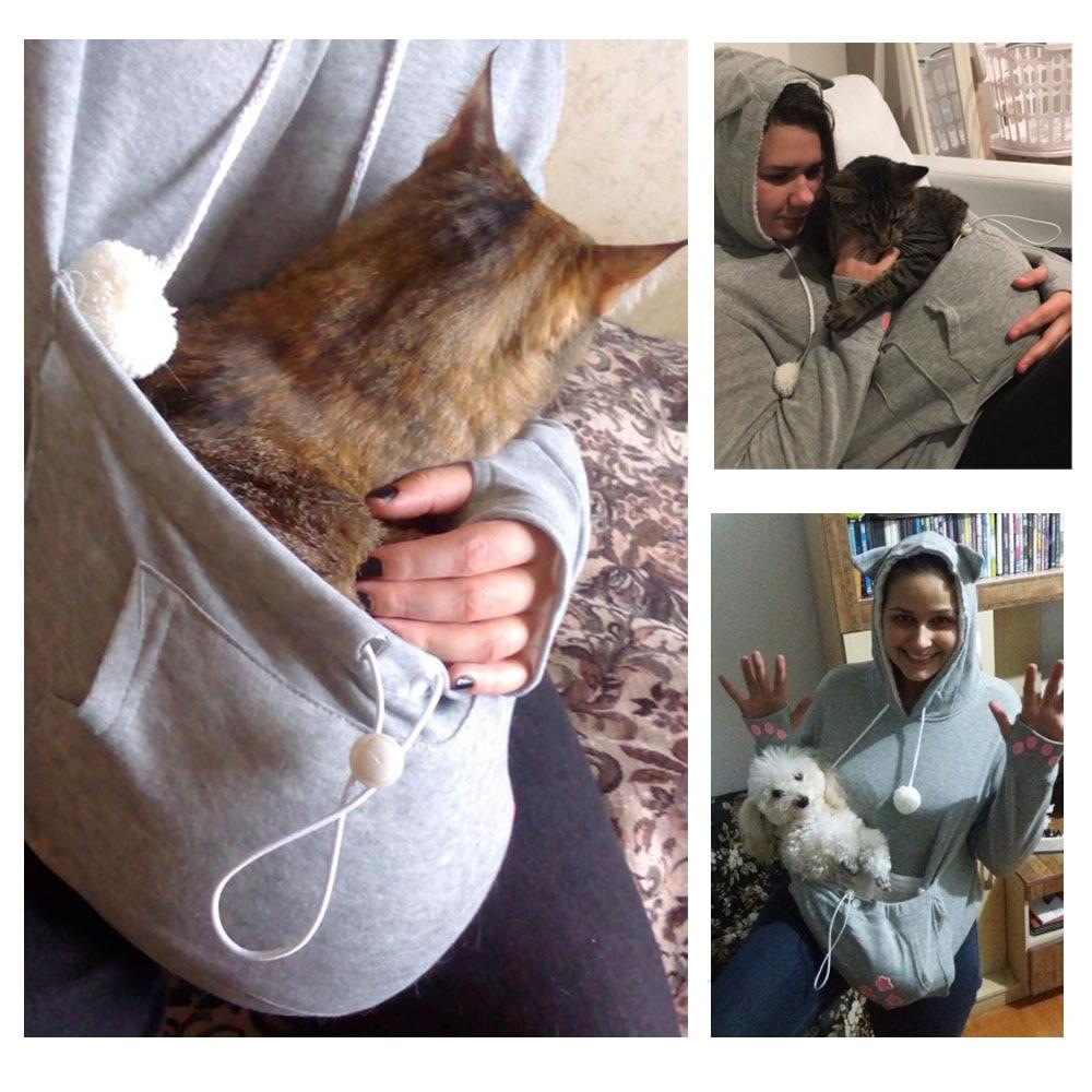 17 New Cartoon Hooded Hoodies Lover Cats Kangaroo Dog Hoodie Long Sleeve Sweatshirt Front Pocket Casual Animal Ear Hoodie 48