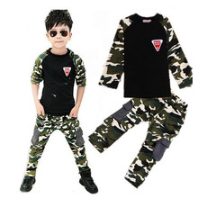 2017 New Brand Camouflage Clothes Sets for Kids Clothing  Boys Girls Spring Autumn Cotton Sports Set Tracking Suit