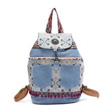 491af0d2da3e Sac à dos de femmes boho bleu denim toile bohème hippies épaule sac poche  paillage glands Broderie ethnique sac à dos