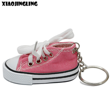 XIAOJINGLING Pink Canvas Sneaker Tennis Shoes Keychains Fashion Car Key Holder Keyring Charm Women Men Accessory Birthday Gifts(China)