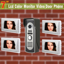"1 Camera 4 Monitor 7"" LCD video doorphone intercom system doorbell Night Vision color wired video door phone intercom system"