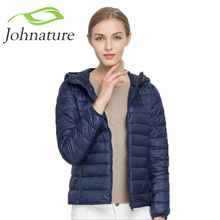 Johnature 2017 Hooded 90% White Duck Jacket Autumn Winter 14 Colors New Warm Slim Zipper Women Fashion Light Down Coat S-3XL