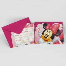 12pcs Invitation Cards+12pcs Envelope Kid cartoon Minnie Mouse Invitation Card event party supplies Birthday Party decoration