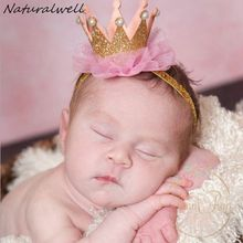 Naturalwell Newborn Crown Headband Gold princess crown Baby Girls Cute Hair Band Infant Kids Hair Accessories Photo Props HB044(China)
