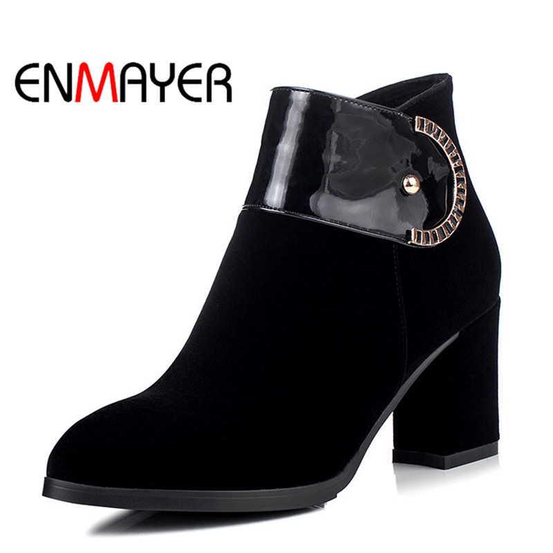 ENMAYER 2017 Fashion Women Ankle Boots Pointed Toe Square Heel Warm Plush Boots Buckle Work Dating Shoes Casual Boots for Woman<br>