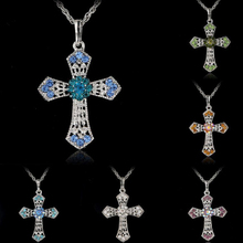 2017 New 6 Colors Cross Crystal Necklace Women Jewelry Gift Wholesale Luxury Chain Choker  Jewelry Acessories Gift