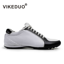 VIKEDUO Brand 2018 Men Sports Flat Shoes Luxury Top Cow Leather Casual Hollow Breathable Shoes Black And White Fashion Design