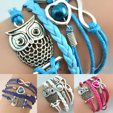 Hot 1 Pc Women Fashion Infinity Friendship Multilayer Charm Leather Bracelets Jewelry Gift(China)