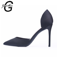GENSHUO Women Pumps Satin High Heels Women Pumps Black Stiletto Glitter High Heel Shoes Woman Sexy Wedding Party Shoes Plus Size(China)