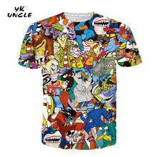 YK UNCLE Brand Clothing Harajuku Short Sleeve T Shirt Women/Men 3D Printing Rascal Cartoon Anime Lovely T-Shirt Tee Tops M-2XL(China)