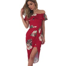 Buy 2017 Women Sexy Fashion Dress Summer Floral Print Slash Neck Short Sleeve Boho Dresses Ladies Evening Party Dresses bodycon for $9.99 in AliExpress store