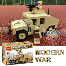 235pcs Decool 2111 Mini SWAT Morden War Army Military Transport Vehicle figures Building Blocks Model Toys compatible with lego