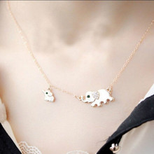 2016 Korean Fashion Cute Elephant Family Stroll Charming Ladies Fashion Design Collar Necklace Wholesale Crystal Necklace