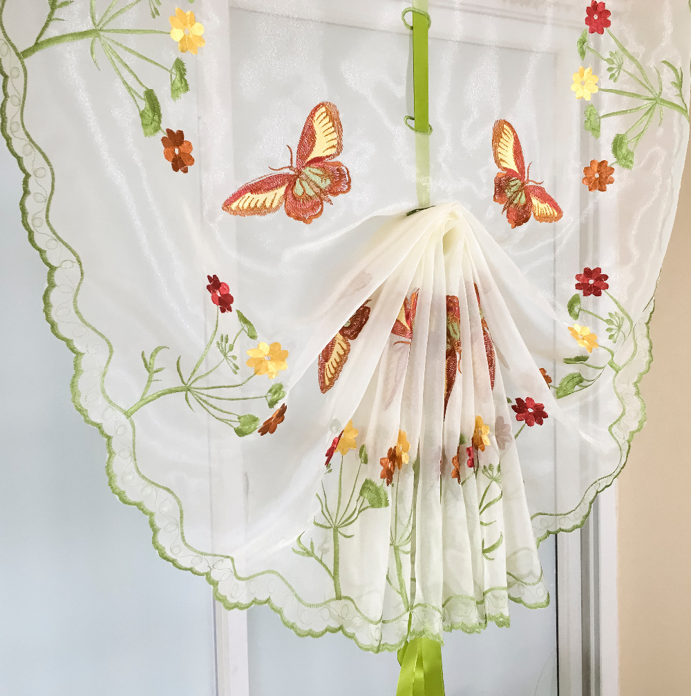 Red patterned curtains - Tulle Balloon Window Curtains For Kitchen Bedroom Living Room Decorative Terri Wong Fire Red Butterfly Embroidered Pattern