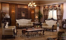 sofa set living room furniture wood and genuine leather living room sets luxury sofa set buying agent wholesale price(China)