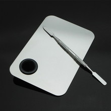 Stainless Steel Makeup Mixer Nail Art Polish Mixing Plate Foundation Eyeshadow Eye Shadow Mixing Palette with Spatula Rod Tool