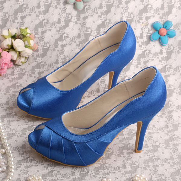 Dropshipping Peep Toe Platform Shoes Blue Satin Wedding Pumps Free Shipping<br><br>Aliexpress