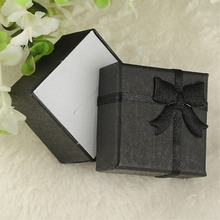 Hot Sellling+Cheap TOP 24 Pc/lot Jewelry Ring Earring Watch Necklace Small Black Carton Present Gift 4*4*3cm Box Case(China)