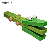 Orff world Crocodile Shape Wooden Castanet Baby Musical Instrument Cartoon Baby Musical Educational Instrument Toy Rattle Toy(China)