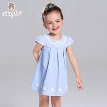 Simyke Girls Summer Dresses 2017 New Toddler Girl Daisy Appliques Dress Kids Clothing Dress For Baby Girl Children Clothes W8186