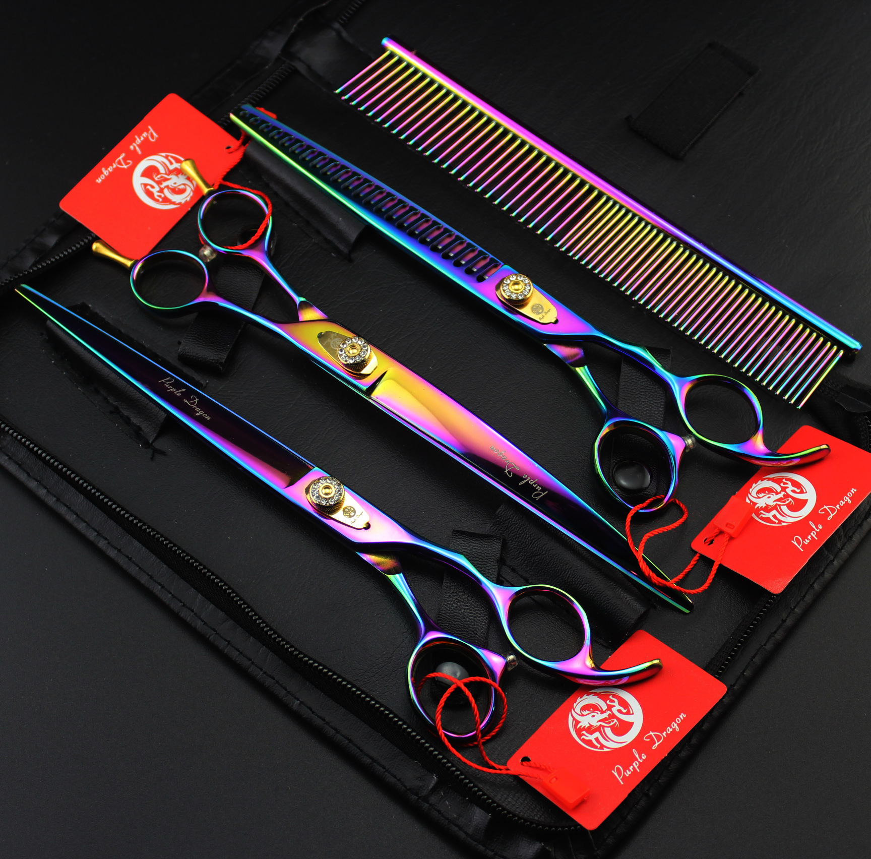 Purple Dragon 8 INCH Rainbow Professional Pet scissors sets,JP440C,62HRC,Straight &amp; Thinning &amp; Curved scissors sets 3PCS/package<br><br>Aliexpress